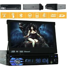 Single 1 Din In Dash Car Stereo Radio DVD Player GPS Navigation System Bluetooth