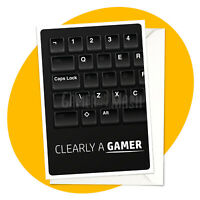 Clearly A Gamer - BLANK GREETING CARD - birthday gaming wasd retro PC online rpg