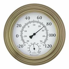 "Bjerg Instruments Antique Brass 8"" Decorative Indoor / Outdoor Thermometer"