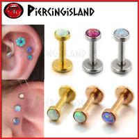 Opal Gem Ring Bar Round Stud Ball Ear Helix Tragus Nose Lip Piercing Earring 1PC