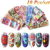 10Pcs/set 4*20cm Nail Foil Transfer Sticker Cartoon Painting Decal Mixed Design