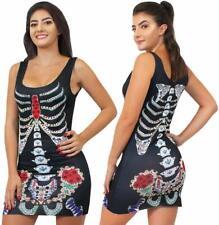 LADIES DAY OF THE DEAD DRESS HALLOWEEN SEXY SKELETON FANCY DRESSS