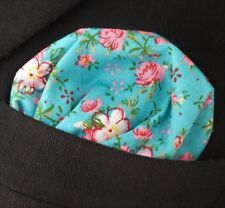 Hankie Pocket Square Cotton Handkerchief Blue with Bright Pink Floral CH220