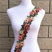 1Yard Flower Embroidered Lace Ribbon Trim Applique Wedding Dress Decor DIY Craft