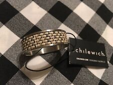New 4 Napkin Rings Basket weaved Chilewich Brand Linen Color Tan/beige/silver