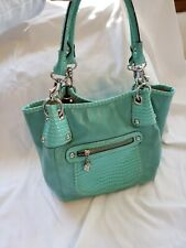 Kathy Van Zeeland Womens Purse Handbag Satchel Bag Seafoam Green Aqua Blue Heart