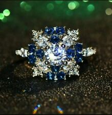 Big Crystal Blue Stone Ring Size 7