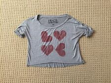 PEACE GENERATION GRAY CROP TOP WITH RED HEARTS WOMENS SIZE MEDIUM