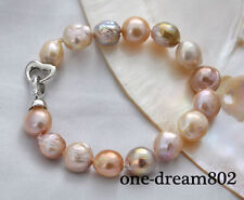 "Real 8"" 13mm baroque white baby pink purple reborn pearl bracelet"