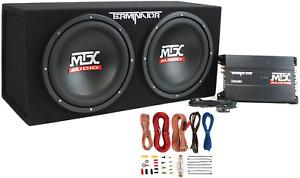 MTX Subwoofer Kit 12-Inch 1200 Watt 400 Watt RMS Sound System with Amp & Wiring