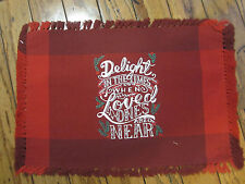 Nwt $32 St. Nicholas Square Delight Fringed Placemats X4 Christmas Red 8 avail