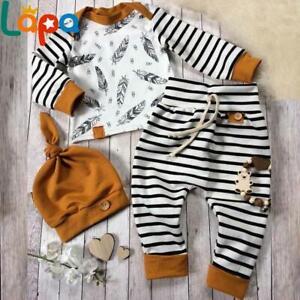 ❤️ Neugeborene Baby Jungen Gestreifte Outfit Langarm Tops Hosen Hut Kleidung Set