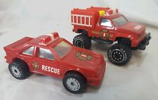 Vintage 1987 Remco Rescue Vehicle Lot Fire Truck Chief Car Red mustang bronco
