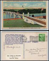 INDIANA Postcard - Vincennes, Lincoln Memorial Bridge & Wabash River G7