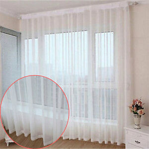 1pc White Voile Window Curtain Sheer Panel Drapes Scarf Tulle Valances All Size