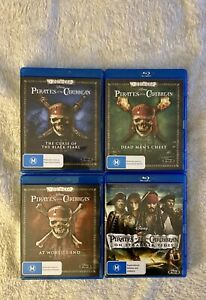 Pirates Of The Caribbean 1, 2, 3 & 4 Blu Ray