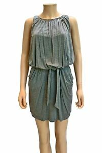 BCBG MaxAzria Womens Gray Jersey Knit Sleeveless Belted Mini Dress Size S