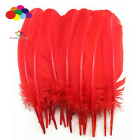 10-100pcs Pure red 10-12inch Turkey Quill Feathers for Fashion Decorations