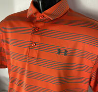 Under Armour Polo Golf Shirt Heatgear Loose Fit Antler Logo Striped Sz L Casual