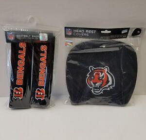 Cincinnati Bengals headrest 2 pcs. set and 2 pcs. Seat belt shoulder pad set.