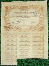 Rare Cie Gle des Verreries de France et de l'Etranger - Titre de 4 Actions 1857