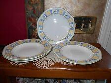 Studio Nova GINGHAM BLUE RIMMED SOUP CEREAL BOWLS Set of 4 Brand New Old Stock