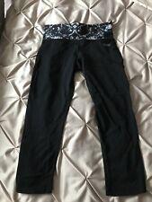 Ladies USA PRO Fitness Cropped 3/4 Leggings Size 8 (XS) Black White Workout Gym