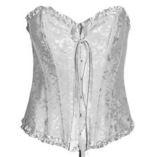 WHITE EMBOSSED BASQUE CORSET SIZE 6-16 FANCY DRESS BURLESQUE  ALTERNATIVE GOTH