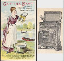 Grand Rapids Mich 1800's Furniture City Leonard Ice Box Victorian Trade Card Ad