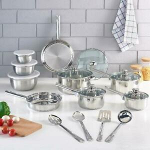 Cookware Set Stainless Steel Kitchen Tools Pots Pans Bowls 10/18/52 Pieces NEW