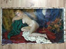 Vintage oil Painting Portrait USSR Socialist realism old woman Nude Naked