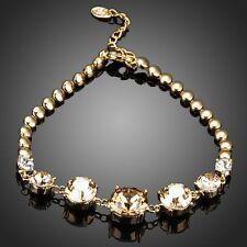 Marrón Dorado Champagne Cristal De Swarovski Elemento de diamantes de imitación pulsera de regalo nupcial