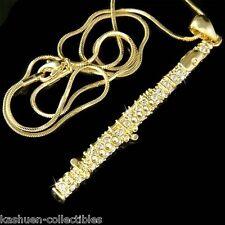 Big w Swarovski Crystal Flute Woodwind Music Musical Instrument Pendant Necklace