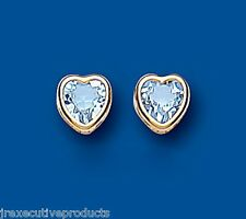 Topazio Blu Orecchini Borchie Cuore Oro Giallo Azzurro A Perno