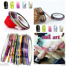 10X Colorful French Rolls Striping Manicure Nail Art DIY Neon Line Foil Tape NEW
