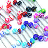 BG_ 30 Pcs Multicolor Tounge Rings Bars Steel Barbell Body Piercing Jewelry Spir
