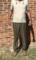Vintage 1960s Mod Mens Striped Pants Slacks by Kings Row Tan Brown Musician 36W
