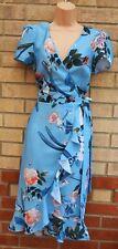LITTLE MISTRESS BLUE FLORAL SHORT SLEEVE FRILL WRAP BELTED SIDE WEDDING DRESS 12