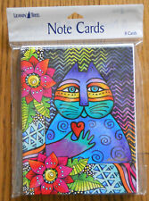8 Leanin Tree Note Cards,VERY BRIGHT COLORFUL CAT & FLOWERS Laurel Burch, USA