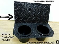 Yamaha Rhino 2 Cup Drink Holder Black Rubber Coated Aluminum Diamond plate