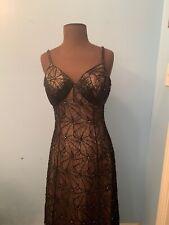 LILLIE RUBIN Black/Nude Beaded Spaghetti Strap Evening Gown Maxi Dress Sz S EUC