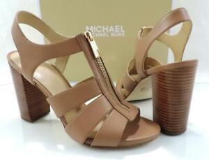 Michael Kors Damita T-Strap Strappy Chunky Heel Sandal Zip Cashew Brown Size 9.5