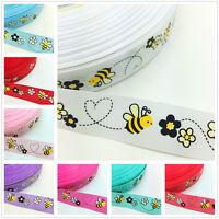 NEW DIY 1 5 Yards 1'' 25mm Little bee Printed Grosgrain Ribbon Hair Bow Sewing U