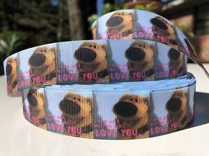 By The Yard 1 Inch Printed Disney Up Dug Dog Printed Grosgrain Ribbon Lisa