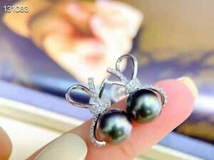 stunning 9-10mm tahitian round black red pearl earring 925s
