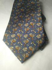 Sulka 100% Silk Tie Made In France Tennis Print Vtg EUC Blue Whimsical Theme