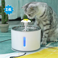 81oz/2.4L Cat Water Dispenser Stainless Steel Pet Fountain with 1 Carbon Filter