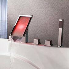 Cascada Deck Mounted Water Power LED Bathroom Sink Faucet (Chrome Finish)