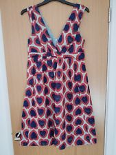 EMILY AND FIN Red & Navy LUCY Casual Heart Print Dress size S 8 UK 100% Cotton