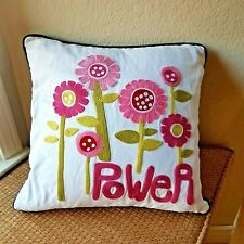 Flower Power Embroidered PB Teen Pottery Barn Square Pillow Cover 17 x 17 inches